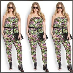 Forever21+ Floral Tube Strapless Jumpsuit, 2X